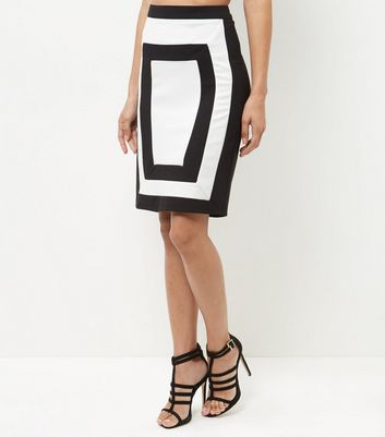 Parisian Black Colour Block Skirt
