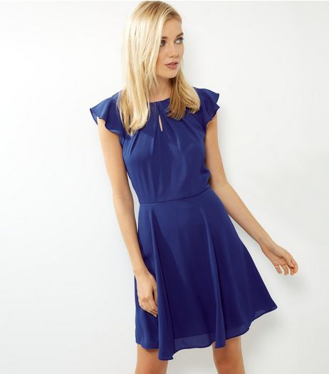 Blue Pleated Neck Flutter Sleeve Skater Dress | New Look