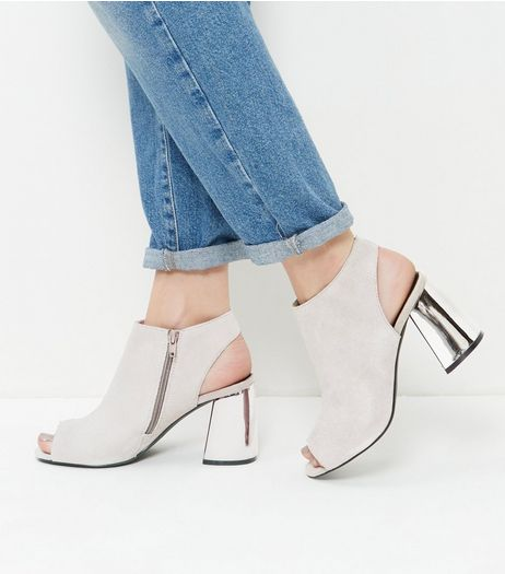 Grey Suedette Peep Toe Zip Side Block Heel Boots | New Look