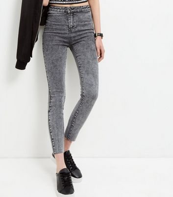 Dark Grey Acid Washed Skinny Fray Hem Jeans