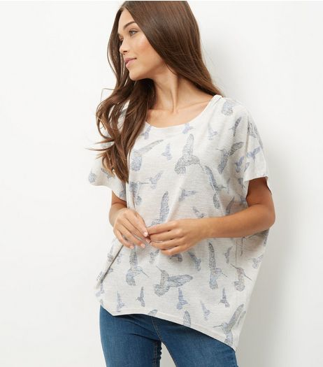 Oversized Oatmeal Hummingbird Print Top | New Look