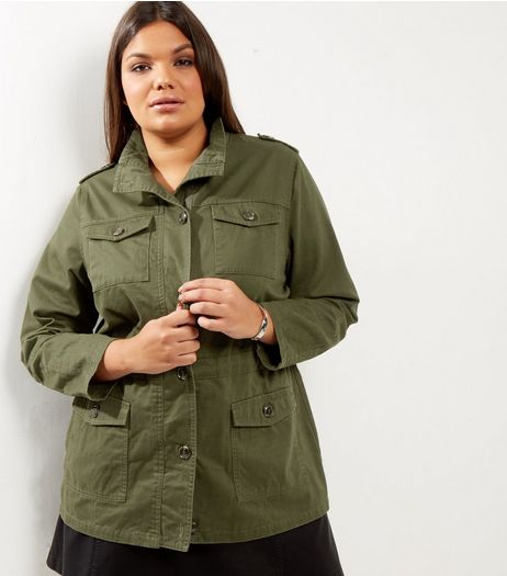 Curves Khaki Pocket Front Jacket | New Look