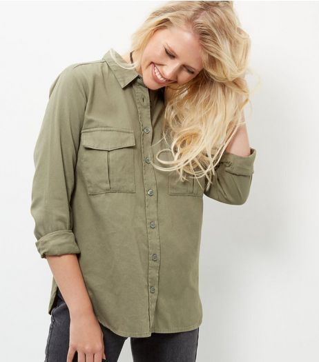 Khaki Military Long Sleeve Shirt  | New Look