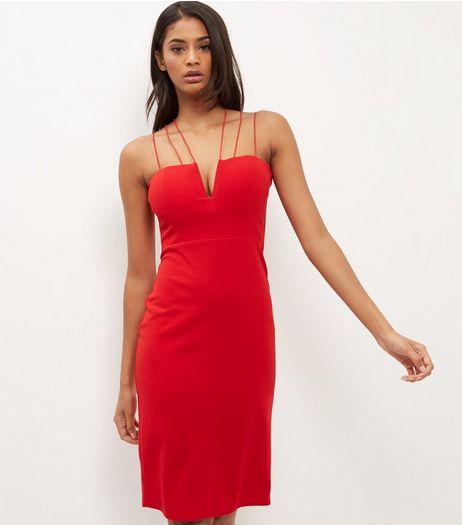 Cameo Rose Red Strappy Midi Dress | New Look