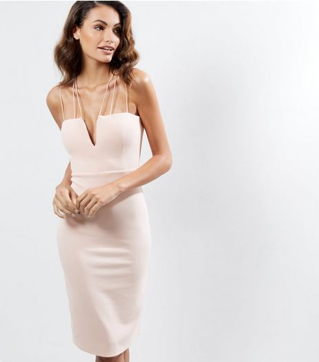 Cameo Rose Shell Pink Strappy Midi Dress | New Look