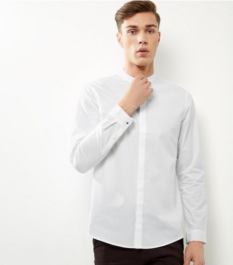 White Grandad Collar Long Sleeve Shirt | New Look
