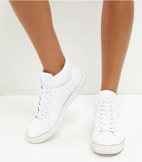 White Metal Trim Hi-Top Plimsolls | New Look
