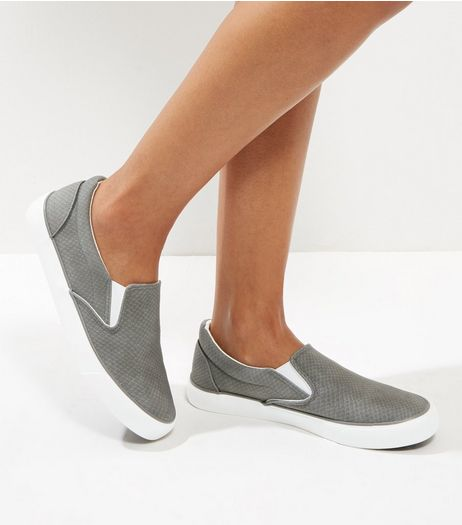 Grey Snakeskin Texture Slip On Plimsolls  | New Look