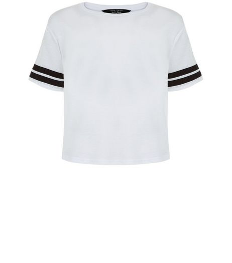 Teens White Stripe Sleeve T-Shirt | New Look