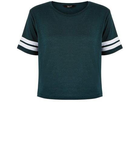 Teens Dark Green Stripe Sleeve T-Shirt | New Look