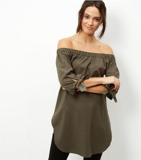 Khaki Tie Sleeve Bardot Neck Longline Top | New Look