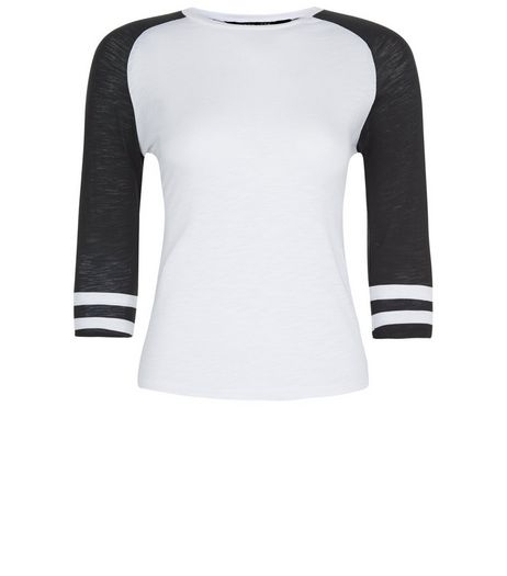 Teens Black Raglan Stripe Sleeve Top | New Look