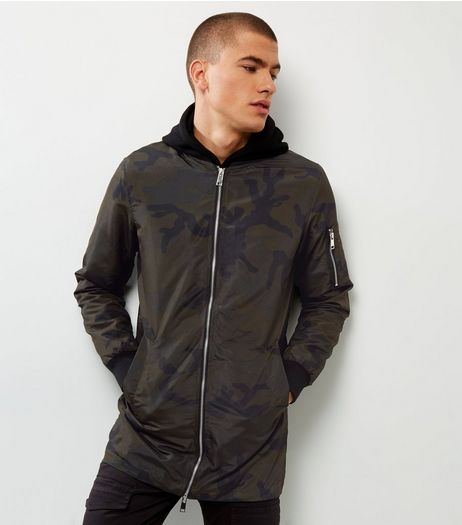 Khaki Camo Longline Bomber Jacket  | New Look