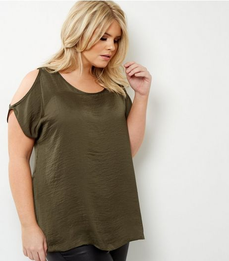 Curves Khaki Sateen Cold Shoulder Top | New Look