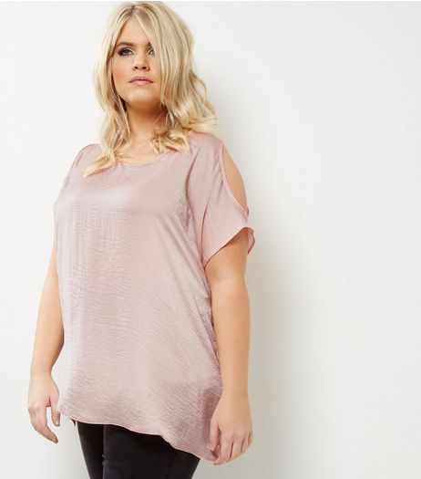 Curves Shell Pink Sateen Cold Shoulder Top | New Look