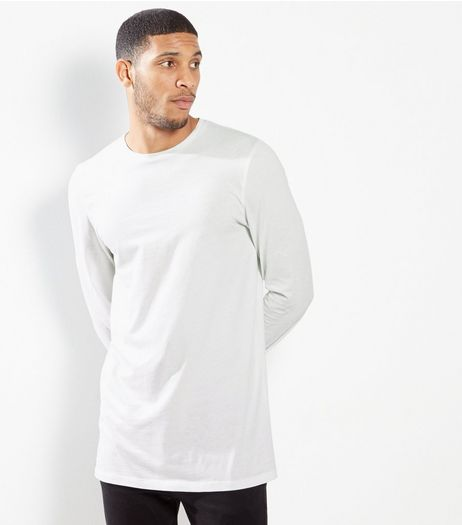 White Cotton Long Sleeve Longline T-shirt | New Look