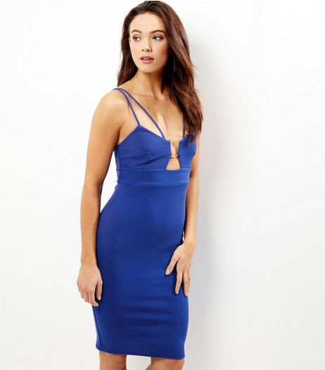 Blue Metal Trim Strappy Bodycon Midi Dress | New Look
