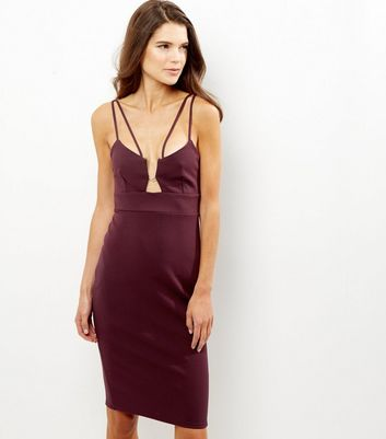 Burgundy Metal Trim Strappy Bodycon Midi Dress