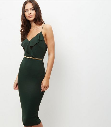 Dark Green Frill Trim Belted Bodycon Dress  | New Look