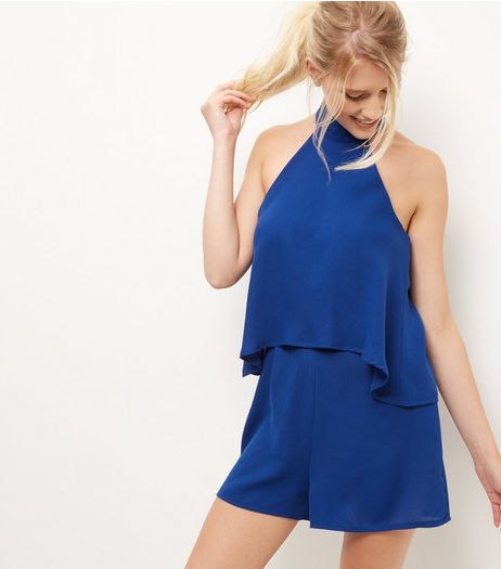 Blue Choker Layered Playsuit  | New Look
