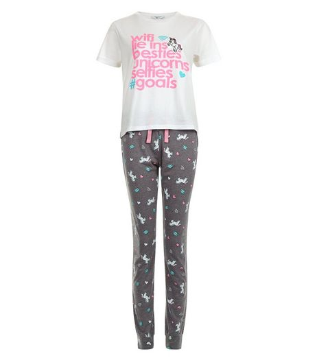 Teens White Wifi and Unicorns Pajama Set | New Look