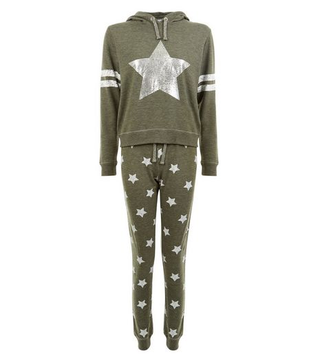 Teens Khaki Silver Star Print Pyjama Set | New Look