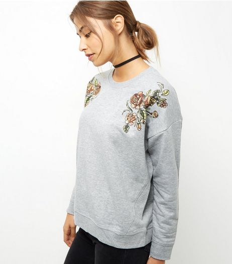 Grey Textured Floral Print Sweater  | New Look
