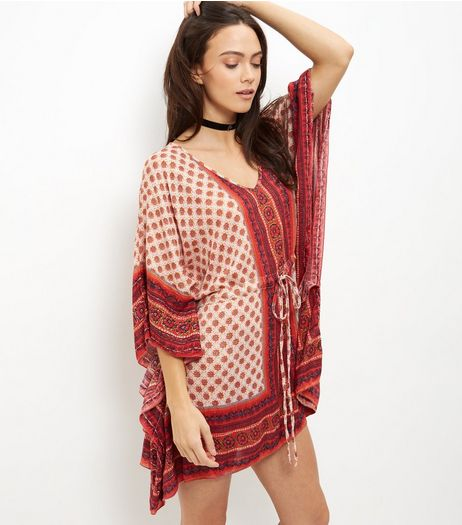 Apricot Orange Tile Print Kaftan | New Look