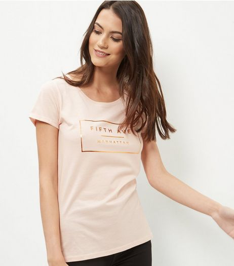 Shell Pink Foil 5th Avenue T-Shirt  | New Look