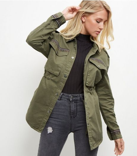 Khaki Aztec Print Trim Shacket  | New Look
