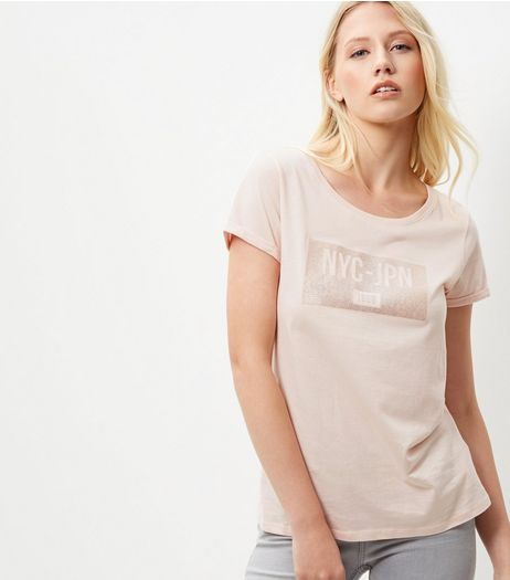 Shell Pink NYC JPN Sequin T-Shirt  | New Look