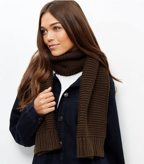 Khaki Knitted Scarf | New Look