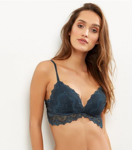 Dark Green Lace Bralet | New Look