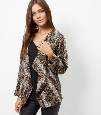 Mela Brown Animal Print Waterfall Jacket