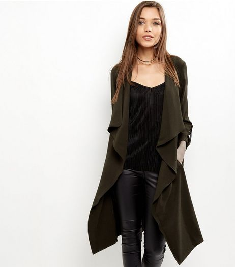 Khaki Waterfall Duster Coat | New Look