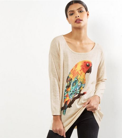 Mela Pale Beige Parrot Print Jumper  | New Look