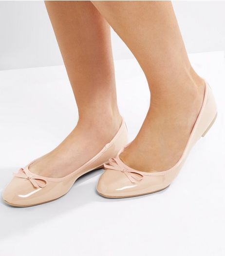 Wide Fit Nude Pink Patent Ballet Pumps | New Look