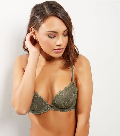 Khaki Lace And Velvet Plunge Bra | New Look