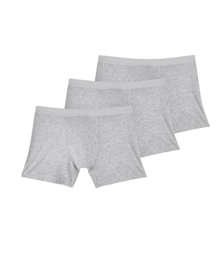 3 Pack Grey Boxer Briefs | New Look