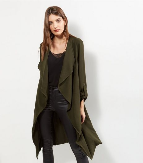 Tall Khaki Longline Waterfall Jacket | New Look