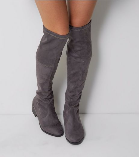 Wide Fit Grey Suedette Tie Up Over The Knee Boots | New Look