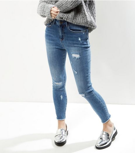 Petite Blue Ripped Ankle Grazer Skinny Jeans | New Look