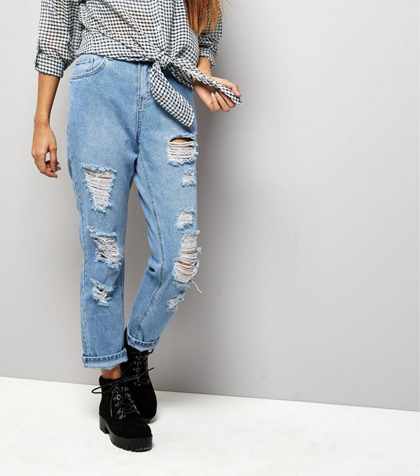 Petite Blue Extreme Ripped Boyfriend Jeans