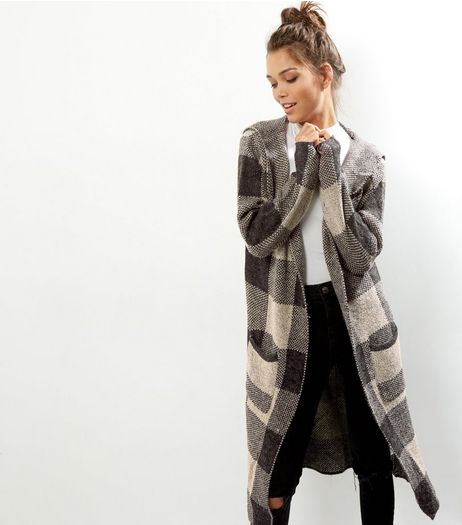 Mela Light Grey Check Longline Cardigan  | New Look