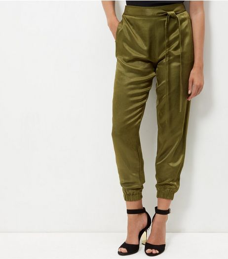 Parisian Khaki Satin Tie Waist Trousers | New Look