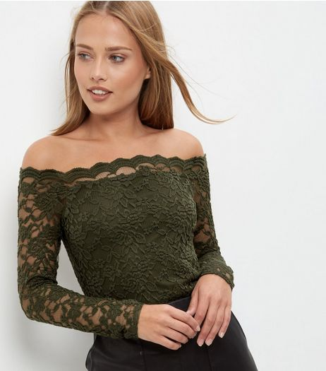 Khaki Lace Scallop Hem Bardot Neck Top | New Look