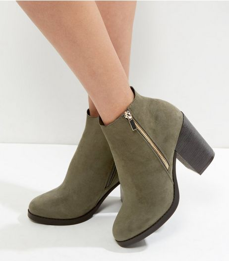 Wide Fit Khaki Suedette Gold Zip Block Heel Boots | New Look