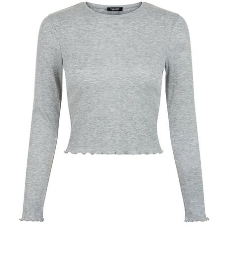 Teens Grey Frilled Hem Top | New Look
