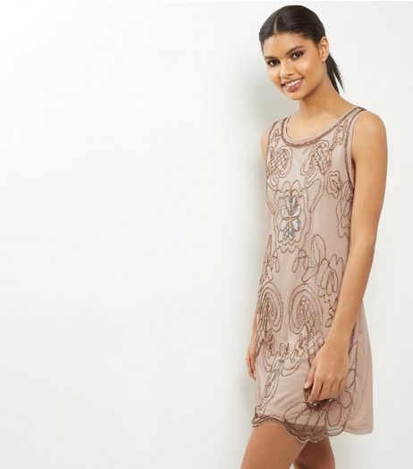 Mela Shell Pink Beaded Dress | New Look