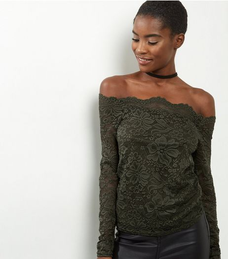 Khaki Lace Bardot Scallop Top | New Look